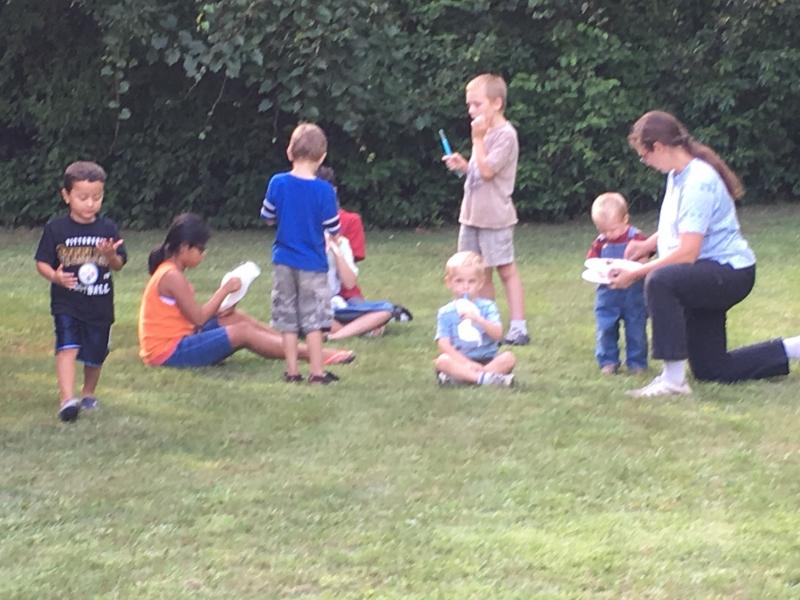 Kids having a ball