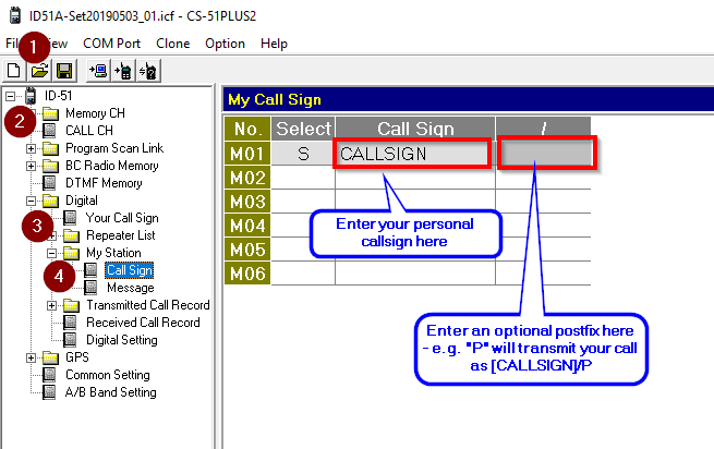 Screenshot of the ID51 programming interface for setting call signs