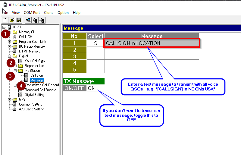 Screenshot of the ID51 programming interface for test messages