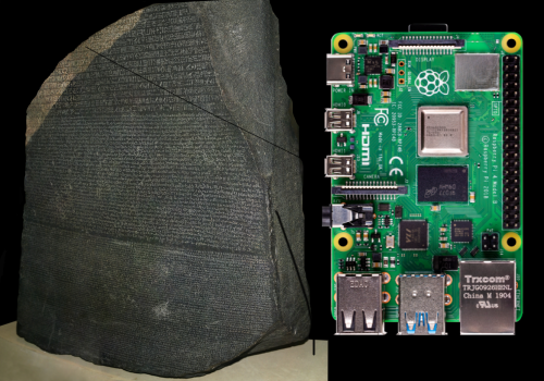 The Rosetta Stone next to a Raspberry Pi