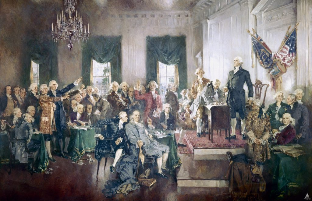 artwork of the signing of the US Constitution
